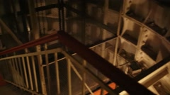 Panorama of staircase, ground and elevator shafts in Stalins bunker Stock Footage