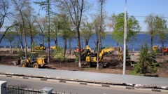 Panorama of quay of river with construction of machines and workers days Stock Footage