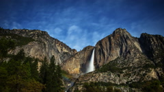 Astro Time Lapse of Moonbow (Lunar Rainbow) at Yosemite Falls -Tilt Down- Stock Footage