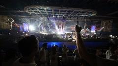 Man shooting on mobile phone panorama of Olympic Stadium Stock Footage