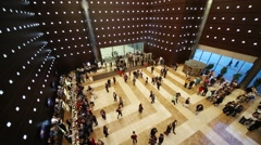Panorama of hall with people, frame of detectors, counter and cafe Stock Footage