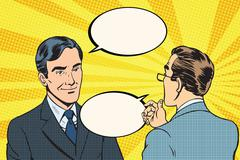 Two businessmen dialogue conversation communication Stock Illustration