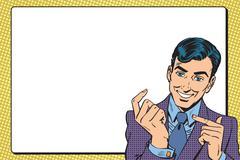 Poster male businessman - stock illustration