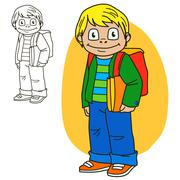 Schoolboy. Coloring book page Stock Illustration