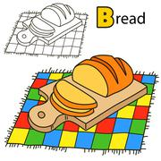 Bread. Coloring book page - stock illustration