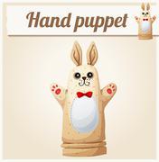 Hand Puppet Rabbit. Cartoon vector illustration. Series of childrens toys Stock Illustration