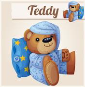 Teddy bear in pajamas with pillow Stock Illustration