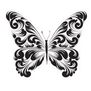 Butterfly of the ornament - stock illustration