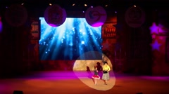 Woman and girl on stage of Government of Moscow region at concert Stock Footage
