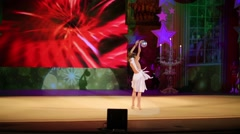 Girl in dress dancing with ball on stage Government of Moscow region Stock Footage