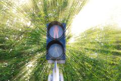 Traffic lights at the crossroads Stock Photos