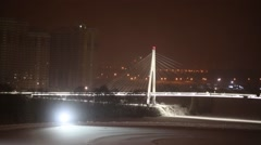 Panorama suspended Pavshinsky footbridge in Krasnogorsk over river Stock Footage