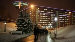 Pedestrian road to house of Moscow region government with people Stock Footage