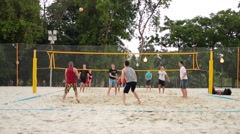 Men playing volleyball in sand in Gorky Park. Stock Footage