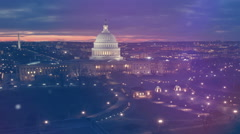 US Capitol Building and reflecting poll at night. Stock Footage