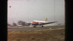 1967: Transocean Airline propeller airplane takeoff runway travel high speed. Stock Footage