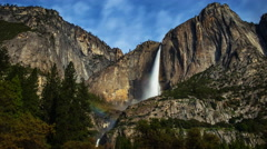 Astro Time Lapse of Moonbow (Lunar Rainbow) at Yosemite Falls -Zoom Out- Stock Footage