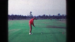 1968: Woman golfer shanks drive for course tee walks back to cart. LOS ANGELES, Stock Footage