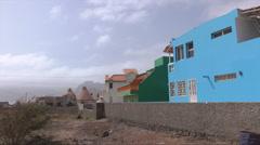 Pan, colourful houses, Baia das Gatas, Sao Vicente, Cape Verde Islands Stock Footage