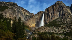 Astro Time Lapse of Moonbow (Lunar Rainbow) at Yosemite Falls -Long Shot- Stock Footage