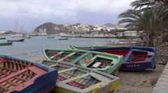 Mindelo, fishing boats and bay, Sao Vicente, Cape Verde Islands Stock Footage