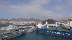 Shipping in Mindelo Port, Sao Vicente, Cape Verde Islands Stock Footage