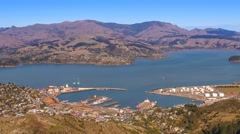 Lyttelton Harbour, Christchurch, Time Lapse Pan Down Stock Footage