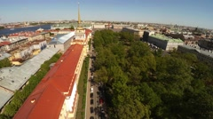 Aerial view. Admiralty, spire. Saint-Petersburg. 4K. - stock footage