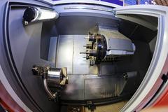 Lathe machine in progress Stock Photos