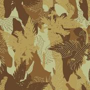 Desert eagle military camouflage seamless pattern - stock illustration