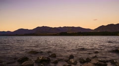 Lake Tekapo Sunset Timelapse. Tekapo, South Island, New Zealand. Stock Footage