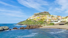 Colorful houses of Medieval town Castelsardo, Sardinia, Italy Stock Footage