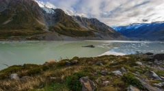 Hooker Glacier Lake, Mount Cook National Park, Time Lapse Pan Right - stock footage
