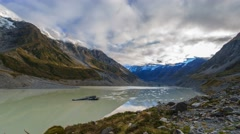 Hooker Glacier Lake, Mount Cook National Park, Time Lapse Zoom Out Stock Footage