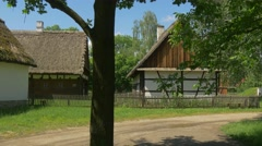 The Road With Old Wooden Huts Stock Footage
