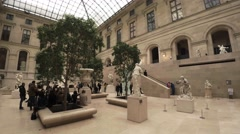 Statues and sculptures in the Louvre museum in Paris. France. 4K. Stock Footage