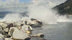 Waves crashing on the rocks Stock Footage