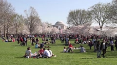 Crowd of People in front of Jefferson Memorial Stock Footage