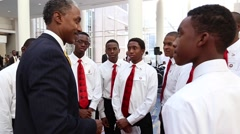 Great Shot of African American males being encouraged Stock Footage