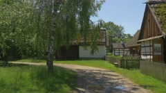 Neighboring Old Buildings Located in the Park of the Old Architecture Stock Footage