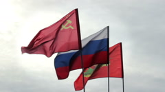 Russian Federation, USSR And Army Flags Flying With Sky In Background Stock Footage