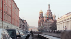 Domes of Church of the Savior on Spilled Blood Lit By The Sunset Stock Footage