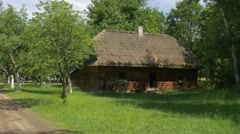 View of the Countryside Hut Buried in Lush Greenery Stock Footage