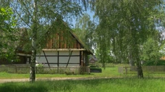 Old Rural Polish House in Springtime Stock Footage