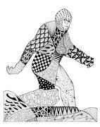 Original zentangles drawing of Bigfoot. Piirros