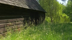 View on the One Side of Wooden House in the Forest Stock Footage