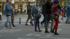 Crowd of people march in a non violent protest in city center Barcelona Stock Footage