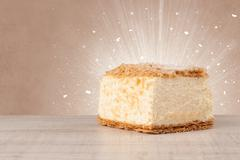 Sparkling tasteful home made cake with coloful background - stock photo