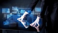 Man pressing technology smart table interface - stock photo