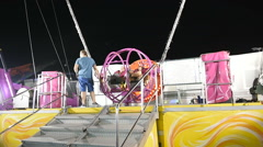 Getting ready for catapult at amusement park Stock Footage